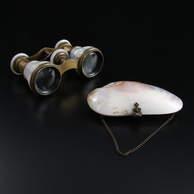 Narcissus of Paris MOP and Brass Opera Glasses with Oyster Shell Clutch