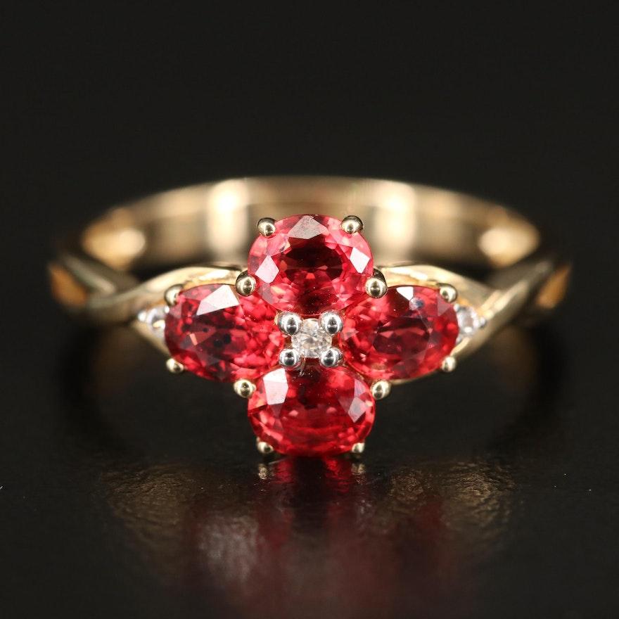 10K Sapphire Quatrefoil Ring