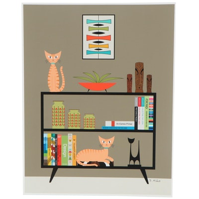 """Donna Mibus Giclée """"Mid Century Ginger Cats on Bookcase,"""" 21st Century"""
