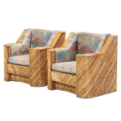 Pair of Art Deco Style Split-Bamboo Club Chairs, Late 20th Century