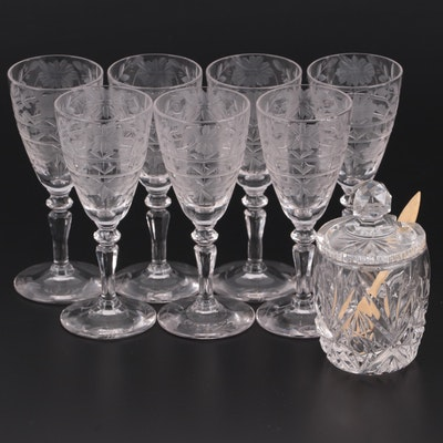 Floral Acid-Etched Cordial Glasses with Crystal Mustard Pot