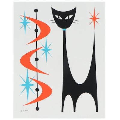 "Donna Mibus Giclée ""Mid Century Orange Boomerang Cat"""