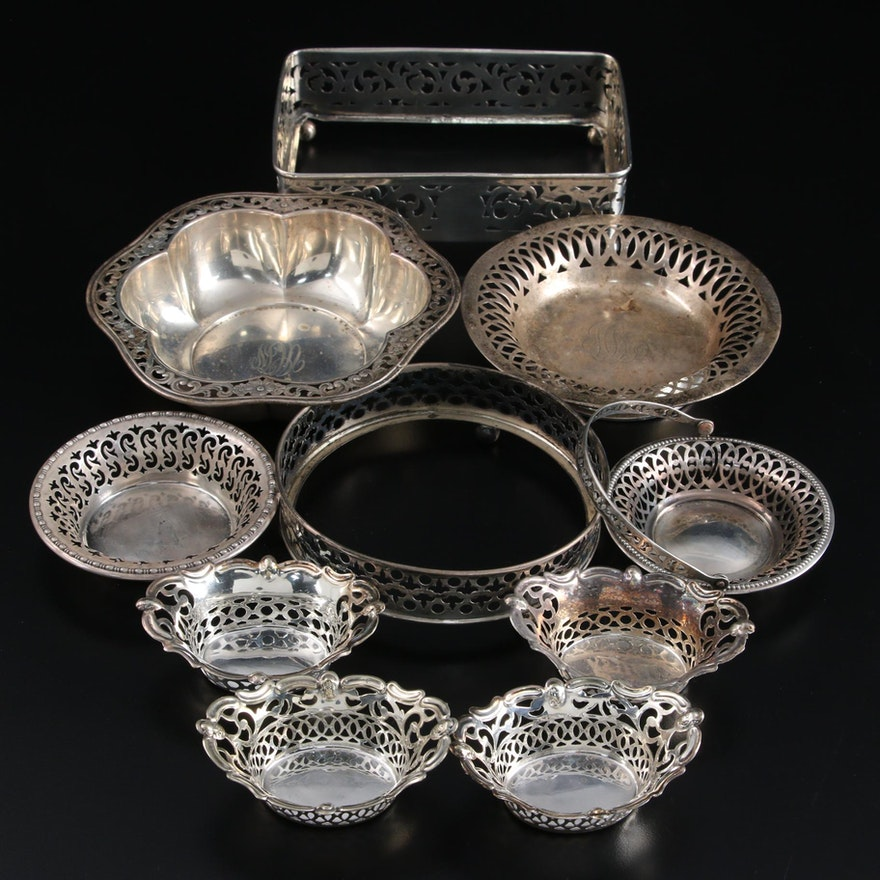 Webster Co. Sterling Silver Pierced Bowl with Other Silver Tableware