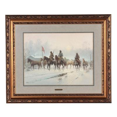 "G. Harvey Offset Lithograph ""Horses for the Confederacy,"" Circa 1992"