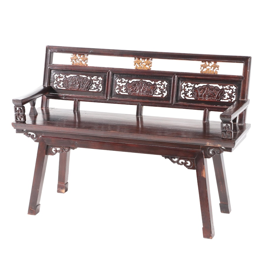 Chinese Carved Hardwood and Parcel-Gilt Bench