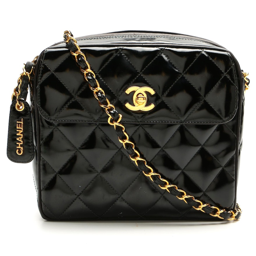 Chanel Flap Front Camera Bag in Quilted Black Patent Leather