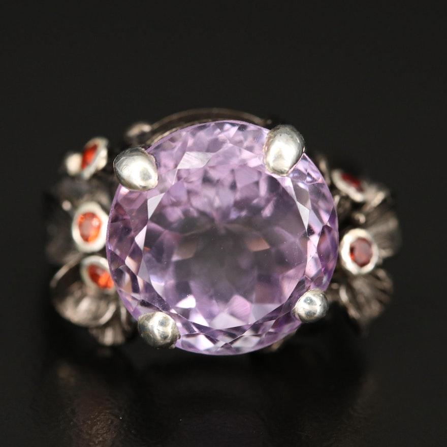 Sterling Amethyst and Garnet Ring Foliate Ring