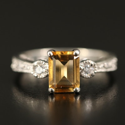 Sterling Silver Citrine and Cubic Zirconia Ring