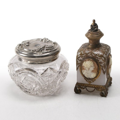 French Palais Royal Cameo Accented Perfume Bottle and Cut Glass Vanity Jar
