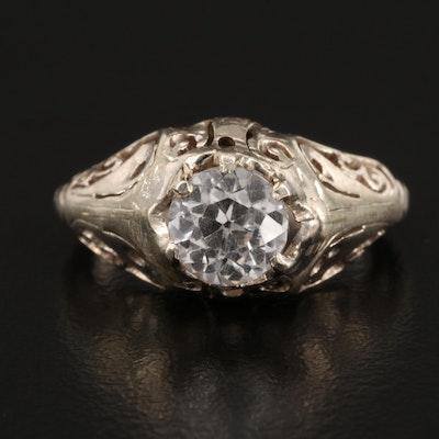 Edwardian 14K White Sapphire Ring