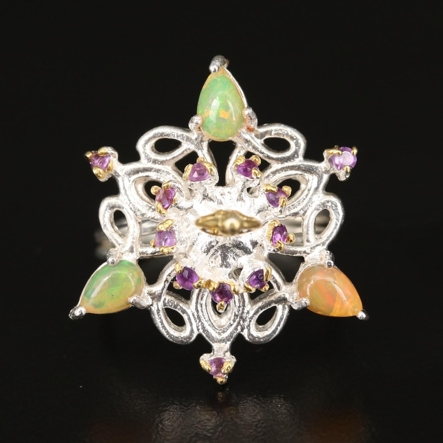Sterling Silver Opal and Amethyst Ballerina Ring
