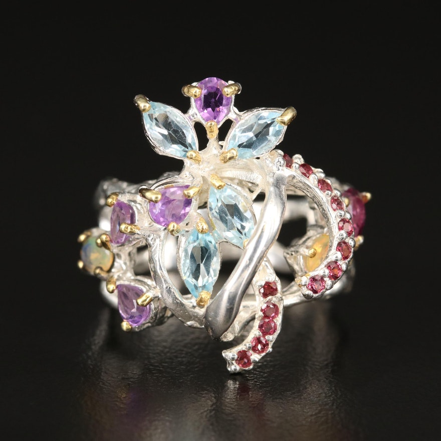 Sterling Silver Gemstone Floral Ring with Topaz and Amethyst