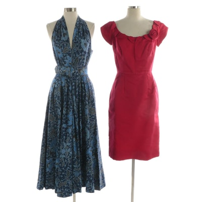 Kenar Blue Paisley Maxi Dress and Red Cocktail Dress