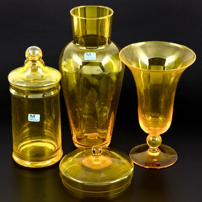 Morgantown Yellow Art Glass Apothecary Jars and Vase, Mid-20th Century