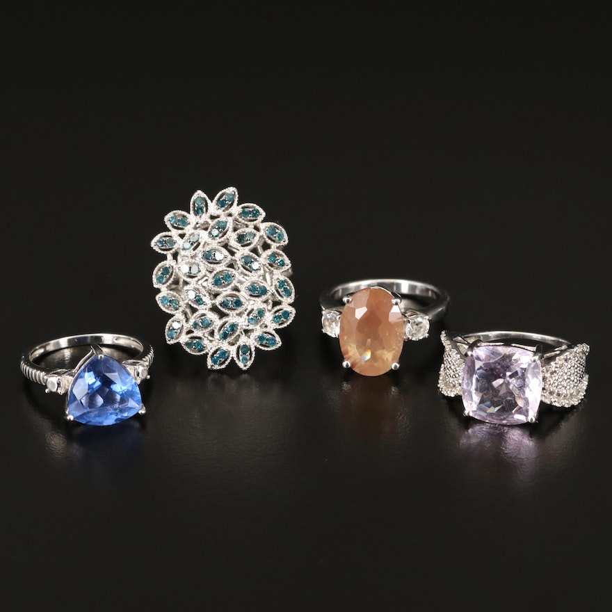 Sterling Silver Gemstone Rings with Diamond, Fluorite and Amethyst