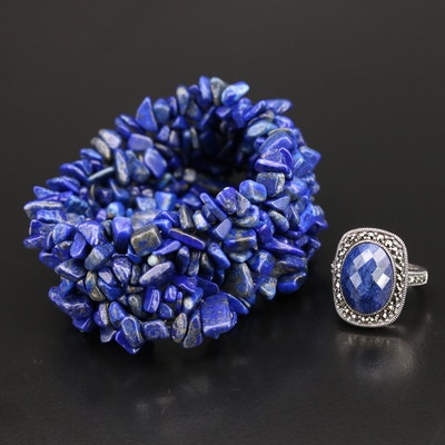 Sterling Corundum and Marcasite Ring with Woven Lapis Lazuli Expandable Bracelet