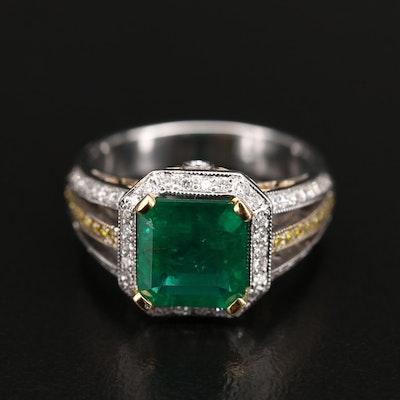 18K 2.10 CT Emerald and Diamond Ring