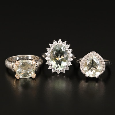 Sterling Rings Including Prasiolite, Diamond Zircon and 14K Accents