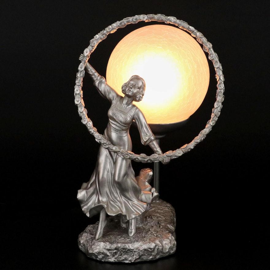 Crosa Art Nouveau Style Figural Lamp