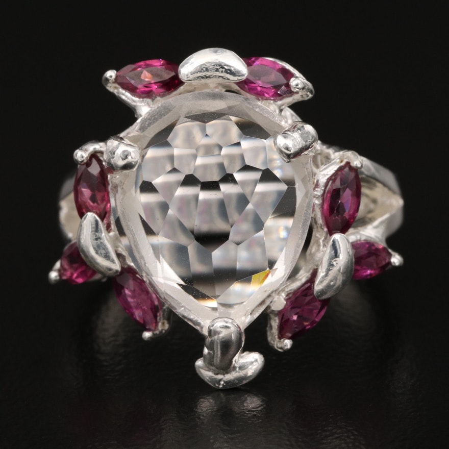Sterling Silver Quartz and Garnet Ring