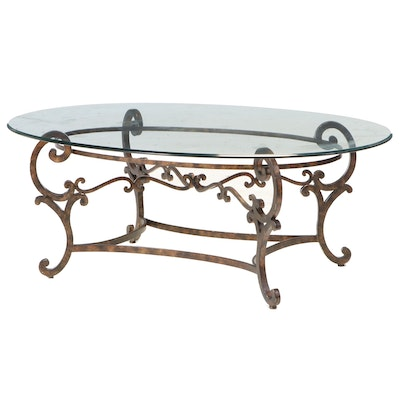 Scrolled Iron and Glass Top Oval Coffee Table