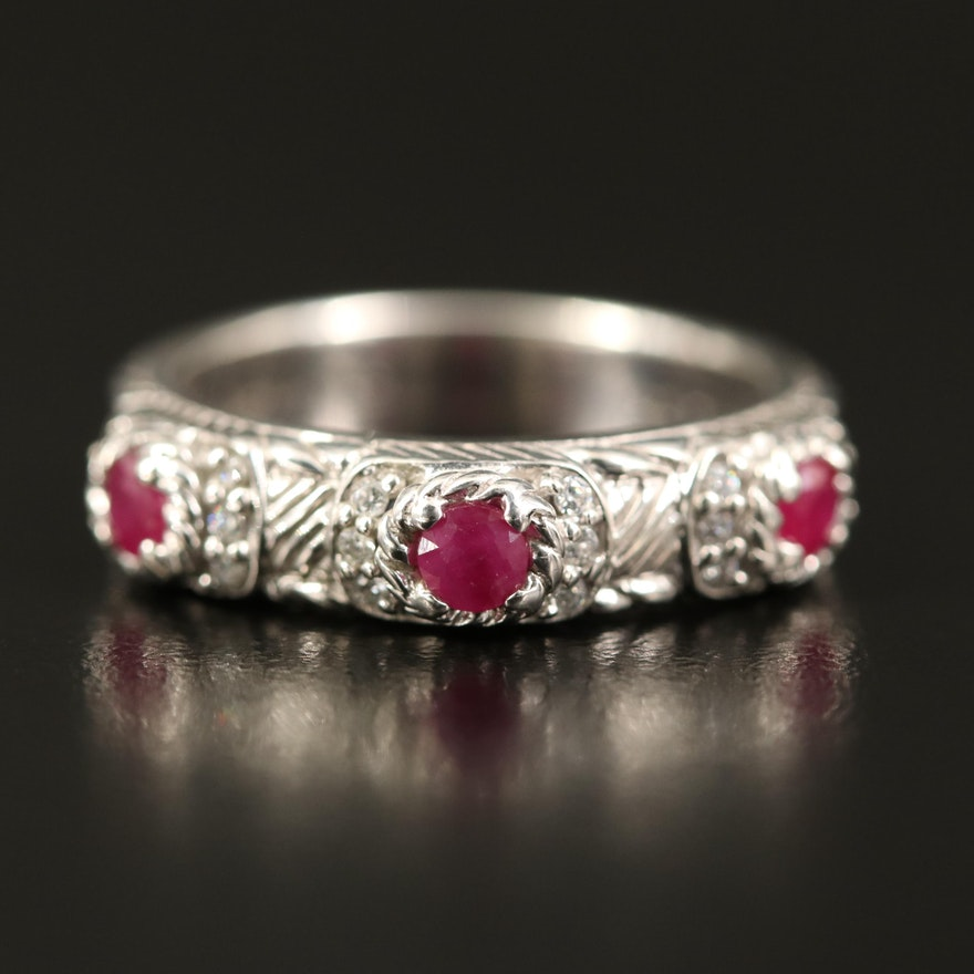 Judith Ripka Sterling Silver Ruby and Cubic Zirconia Ring
