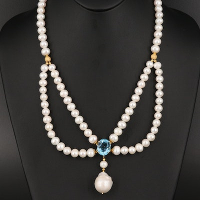 Sterling Silver Topaz and Pearl Necklace