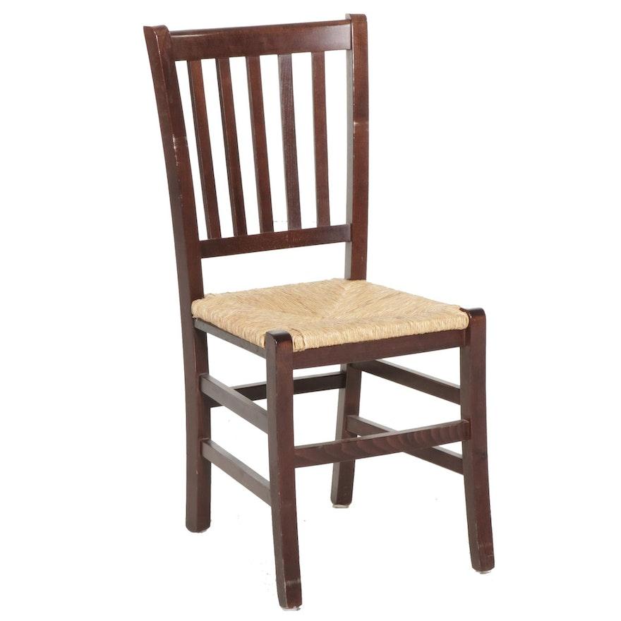 Cherry Finish Rush Seat Side Chair, Late 20th Century