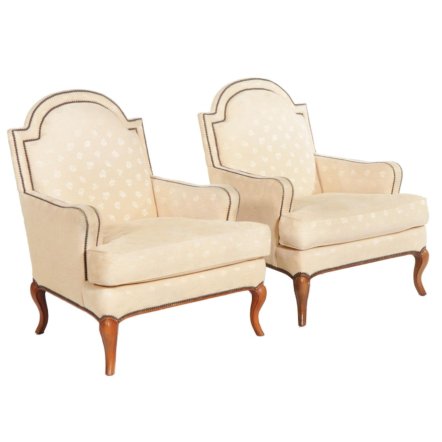 Pair of Baker Furniture Upholstered Armchairs, Late 20th Century