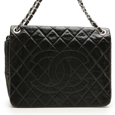 Chanel Quilted CC Messenger Bag in Glazed Aged Calfskin Leather