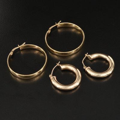 10K and Sterling Silver Hoop Earrings