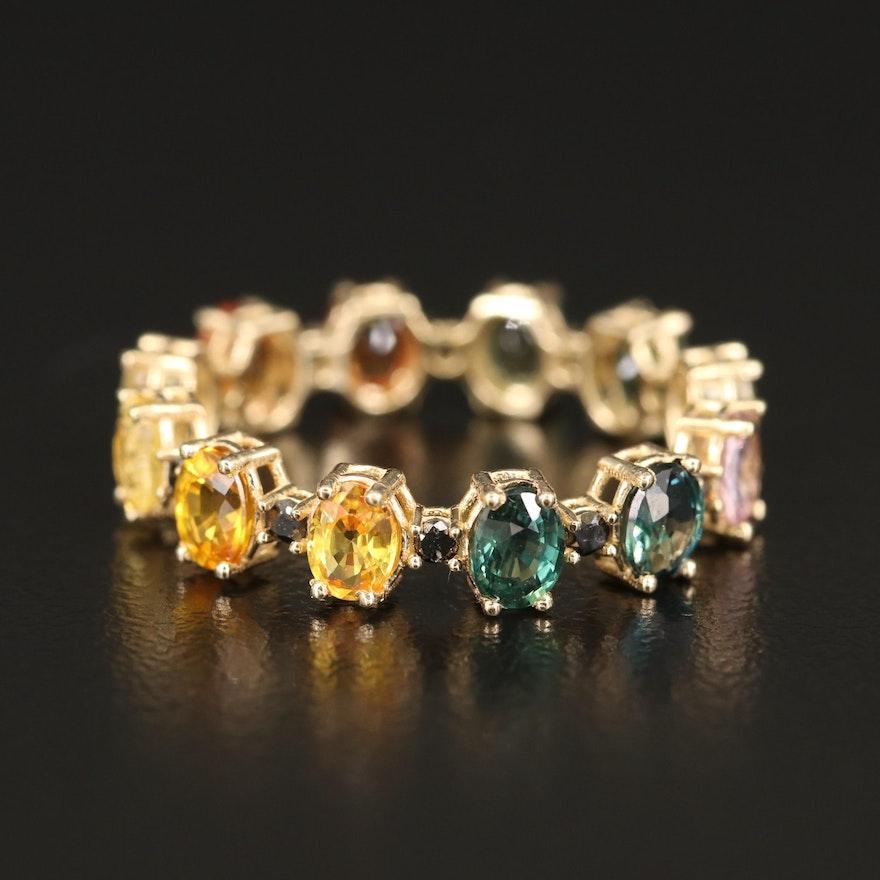 14K Multi-Colored Sapphire and Black Diamond Eternity Band