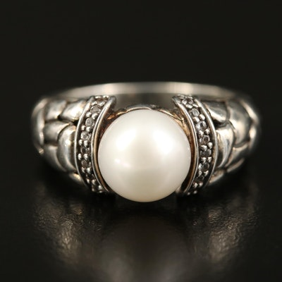 Sterling Pearl and Sapphire Ring