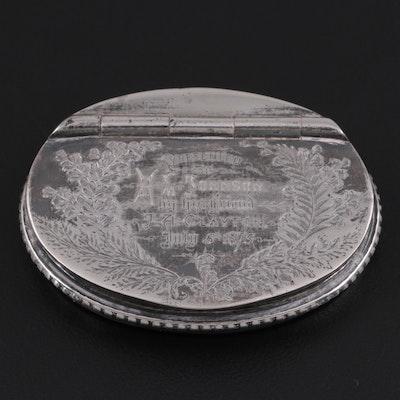 Silver Tone Metal Pill Box, 1875