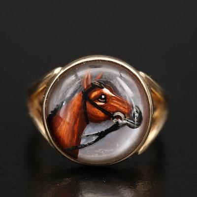 Vintage 14K Rock Crystal Quartz Reverse Painted Equestrian Ring