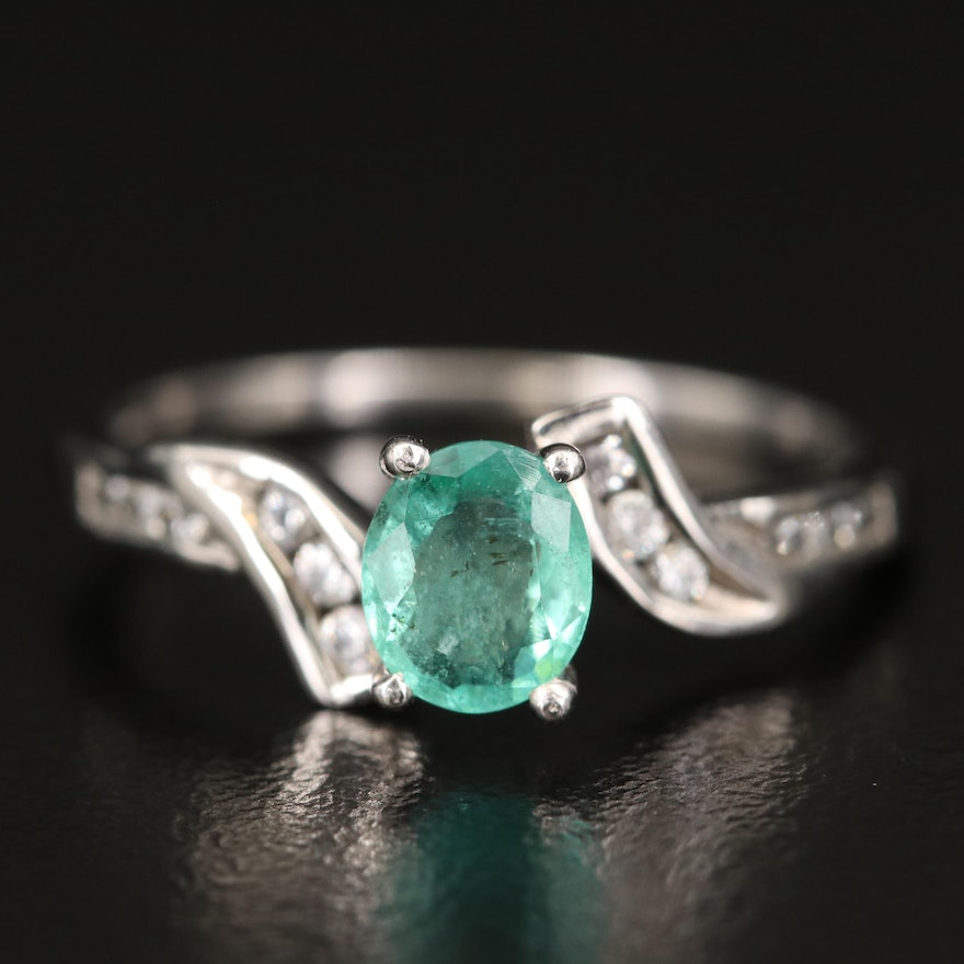 9K Emerald and Sapphire Bypass Ring