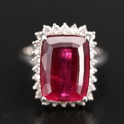 Platinum 10.86 CT Tourmaline and Diamond Ring