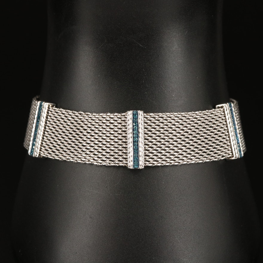 Sterling Silver Diamond Mesh Bracelet