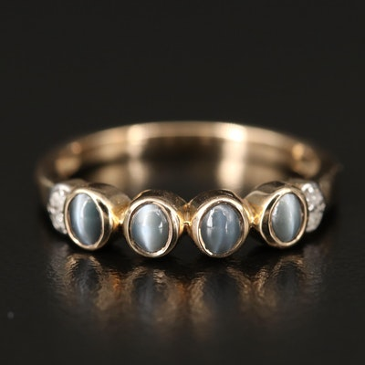 10K Cat's Eye Chrysoberyl and Diamond Ring