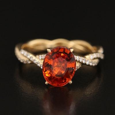 18K Spessartine Garnet  and Diamond Ring