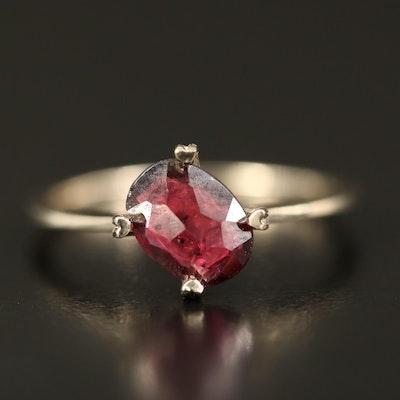 14K Rhodolite Garnet Solitaire Ring with Heart Prongs