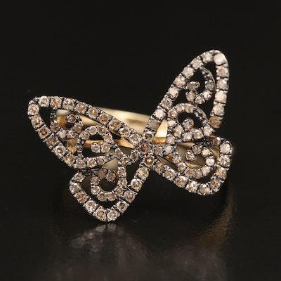 10K Diamond Butterfly Ring