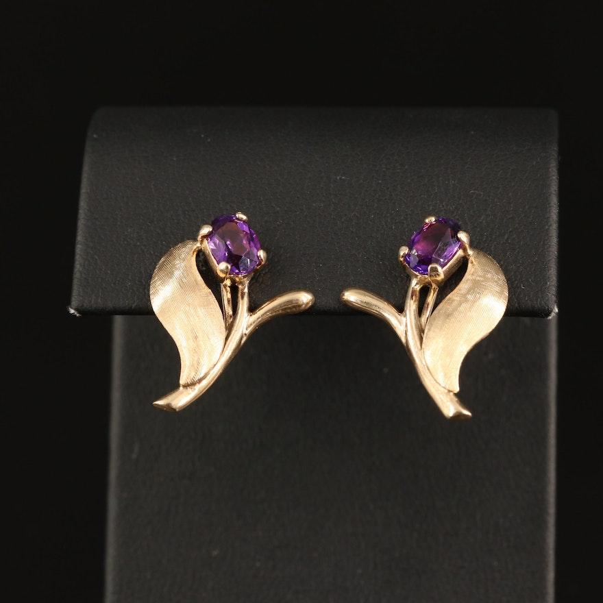 1960s 14K Amethyst Flower Earrings