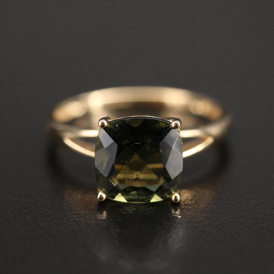 10K Moldavite Ring