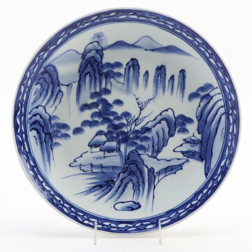 Japanese Ko-Imari Blue on White Landscape Porcelain Charger