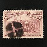 """1892 Columbian Exposition """"Broken Hat"""" 2-Cent Stamp"""