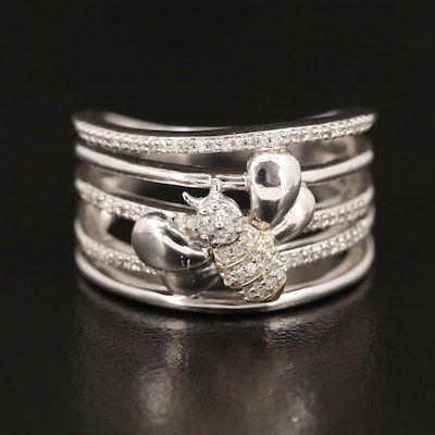 Sterling Diamond Bee Ring with 10K Accent