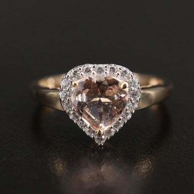 10K Morganite and Zircon Heart Ring