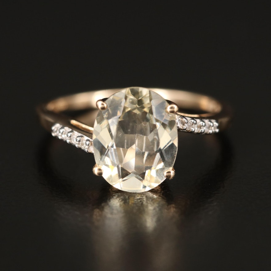 10K Labradorite and Diamond Bypass Ring