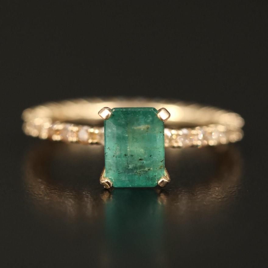 14K 1.49 CT Emerald and Diamond Ring
